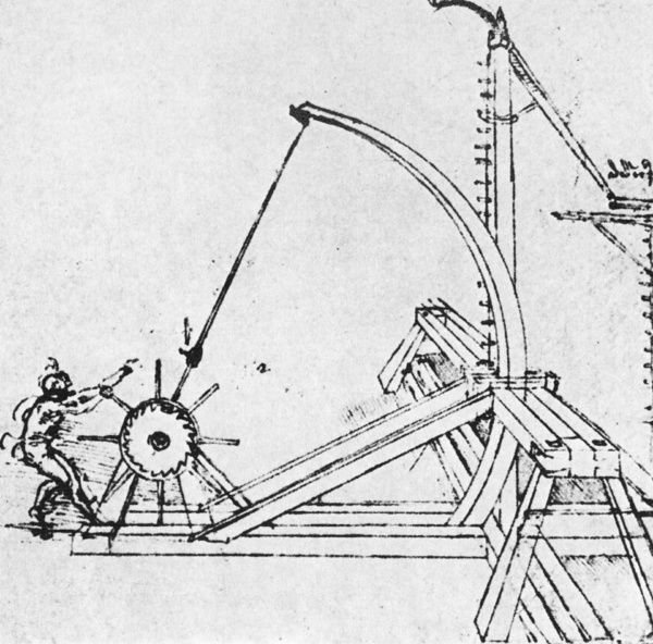 LEONARDO: CATAPULT, c1500. Plan for a catapult with