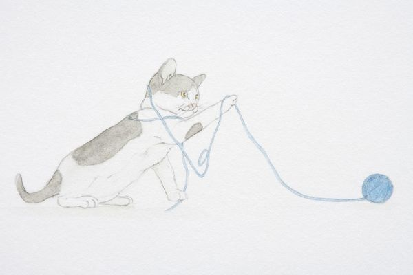 Illustration, black and white kitten playing with ball of