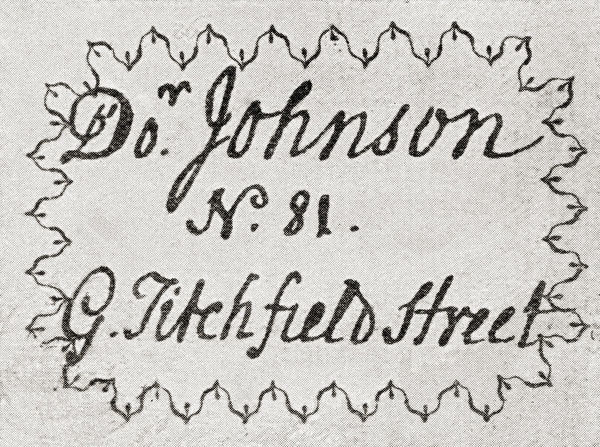Dr. Samuel Johnsons Visiting Card. From The Strand