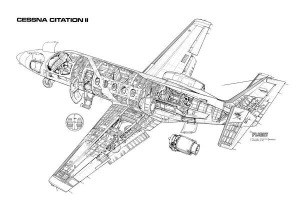 Prints of Cessna Citation II Cutaway Drawing #1569675