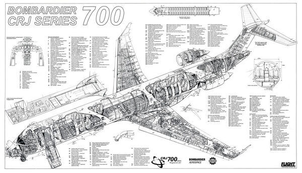 Prints of Bombardier CRJ700 Cutaway Poster #1571105