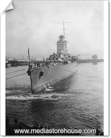 HMS Rodney. The newly-launched British battleship HMS Rodney leaving the Cammell Laird | Photographic Print | | #11804080 | Media Storehouse Photo ...