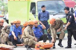 Simulasi Penanganan Gempa Warnai Peringatan HKB di Gowa