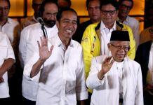 Pasangan Capres Joko Widodo dan Cawapres Ma'ruf Amin bersama koalisi pendukungnya di Jakarta
