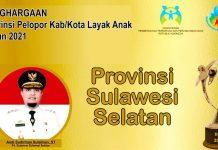 Pemerintah Provinsi Sulsel meraih penghargaan sebagai Provinsi Pelopor KLA 2021
