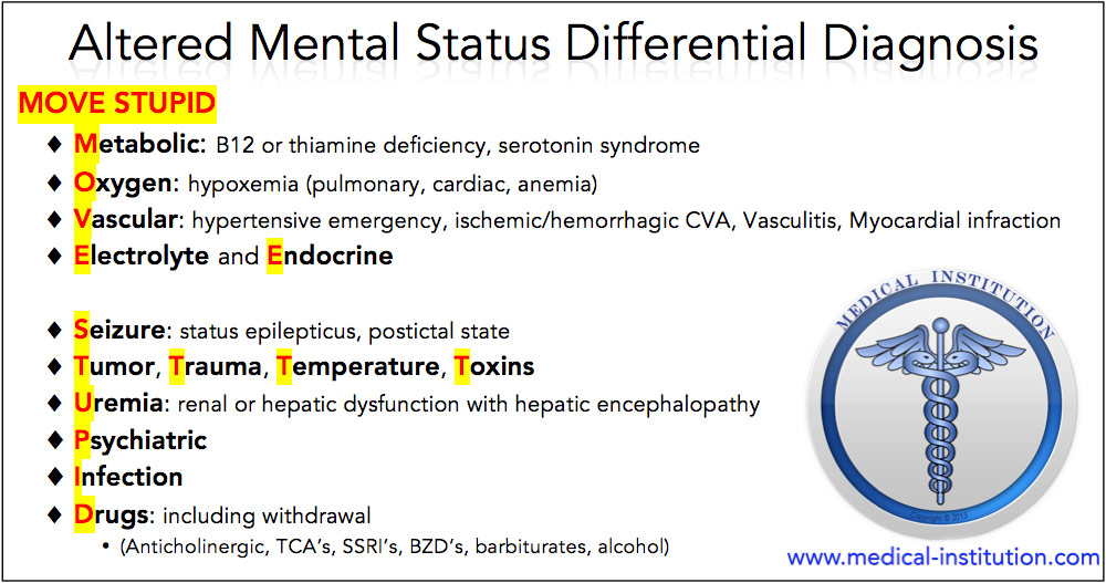 Differential Diagnosis For Altered Mental Status Mnemonic Usmle