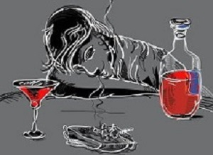 Illustration of a drunk man sleeping at the table