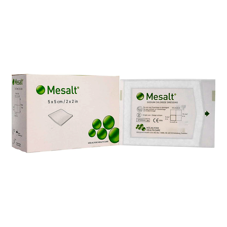 Molnlycke mesalt sodium chloride impregnated dressing 4
