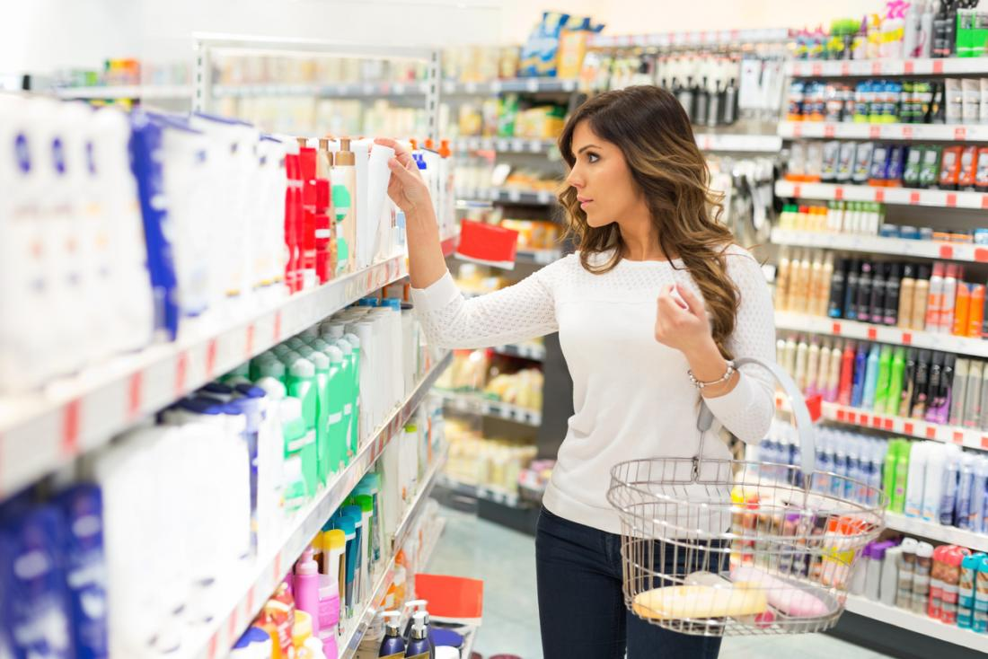 Woman choosing products.