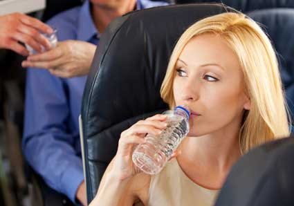 Drink plenty of water when flying