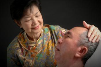 lady caring older man