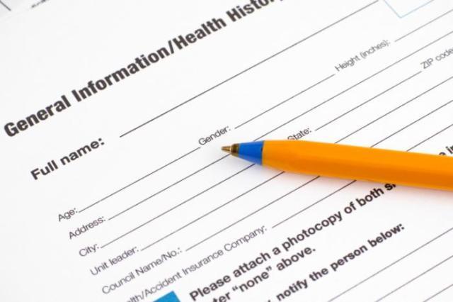 Health care registration form.