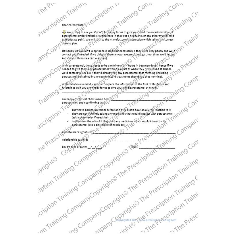 Schools non-prescribed paracetamol consent letter