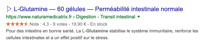 Achetez L-Glutamine sur NATURAMedicatrix