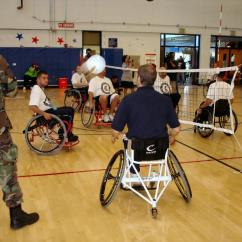 Wheelchair Volleyball Office Chair Posture Guide Military Paralympics Note The Modification In Order To Prevent Falling Over Backwards This Is Similar