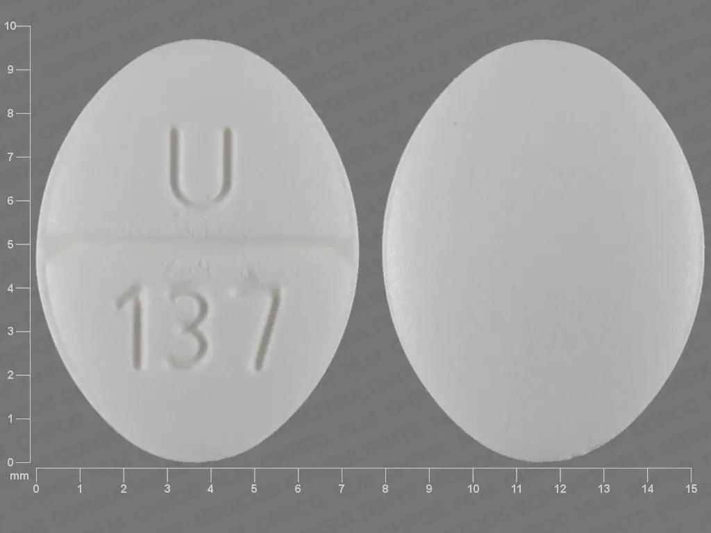 Pill Finder: U 137 White Elliptical / Oval - Medicine.com