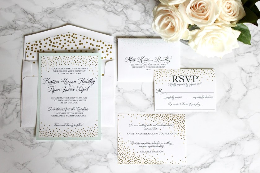 Mint And Gold Wedding Invitations With Elle Dee Designs Medicine Manicures