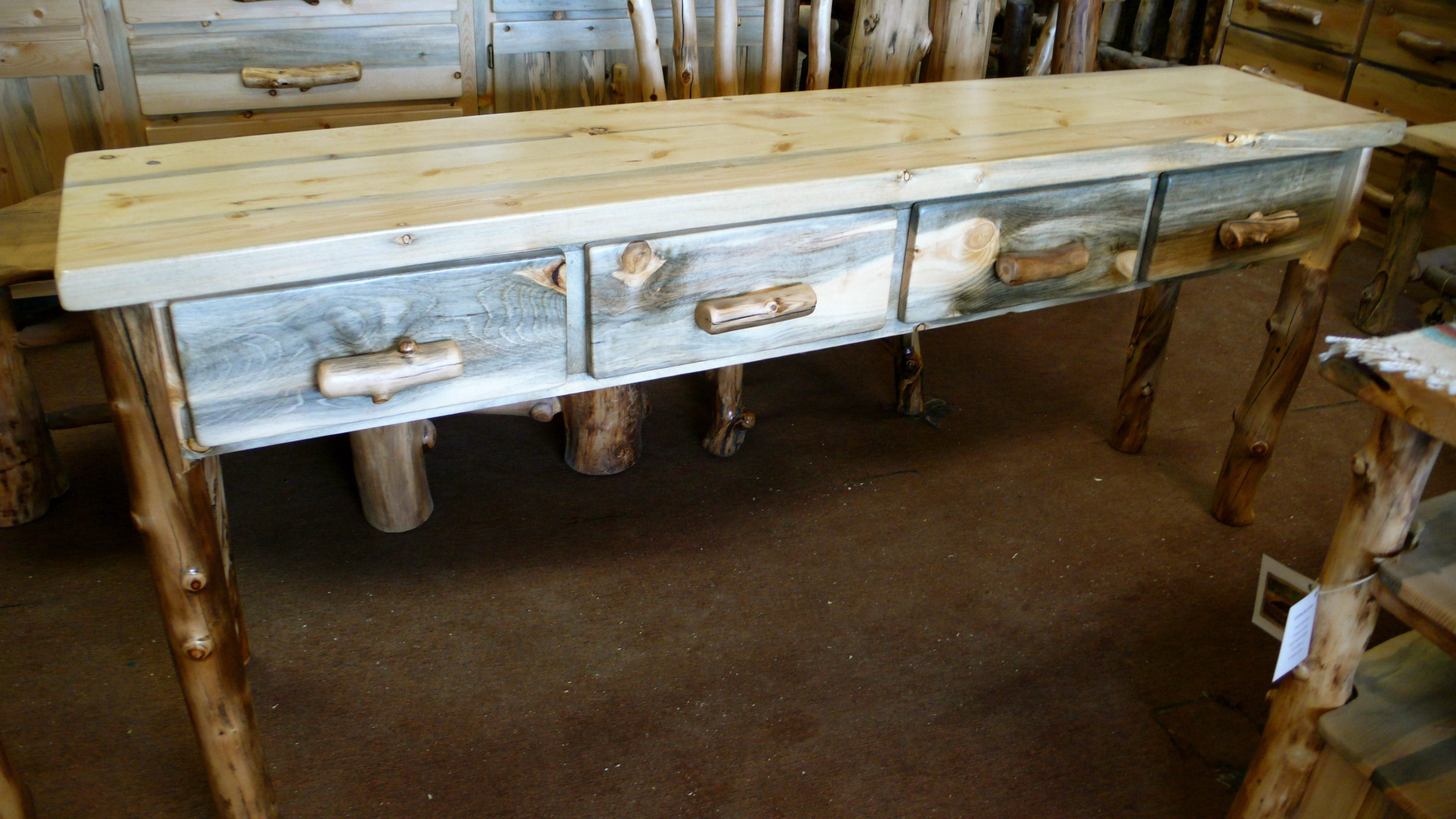 pine sofa tables 7 seater cover set table solid mission boulder
