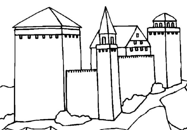 Umrisszeichnungen von Burgen 1 - Medienwerkstatt-Wissen