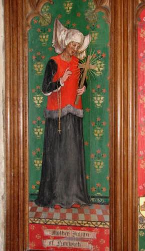 St. Julian, as depicted in the church of SS Andrew and Mary, Langham, Norfolk.