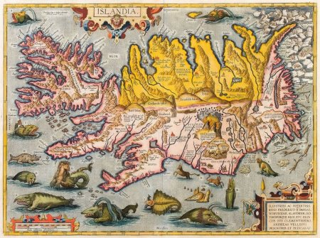 Map of Iceland by Abraham Ortelius ca. 1590