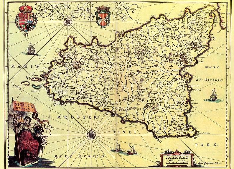 16th century map of Sicily