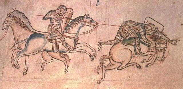 William Marshal at a joust unhorses Baldwin Guisnes. From the Historia Major of Matthew Paris.