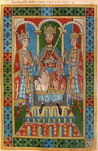 Frederick Barbarossa, middle, flanked by his two children, King Henry VI (left) and Duke Frederick VI (right). From the Welf Chronicle