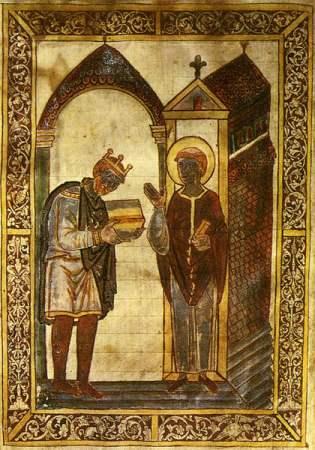 Athelstan, c.895-939. Illuminated manuscript from Bede's Life of St Cuthbert,