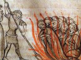 Medieval Heretics being burned