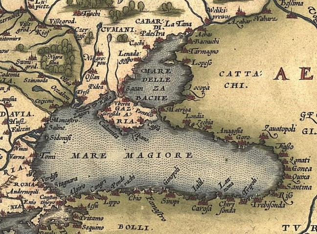 16th century map of the Black Sea