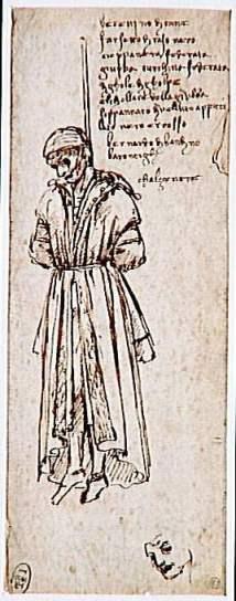 1479 drawing by Leonardo da Vinci of a hanged Pazzi conspirator Bernardo di Bandino Baroncelli