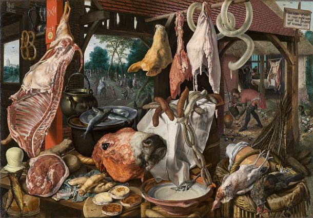 Still Life with Meat and the Holy Family - Pieter Aertsen (circa 1508–1575)