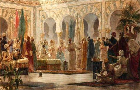 Abd-ar-Rahman III and his court in Medina Azahara, by Dionisio Baixeras Verdaguer.