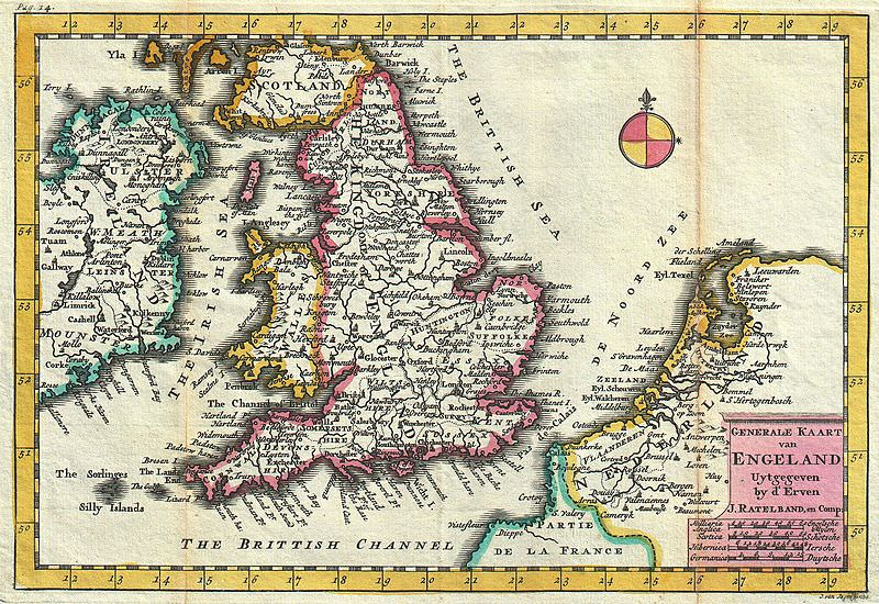 18th century map of England
