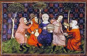 Medieval peasants drinking & eating