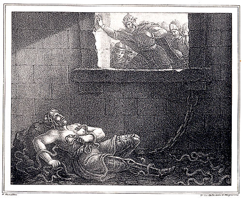 Ragnar Lodbrok cast into a snakepit by Ælla - 19th century image