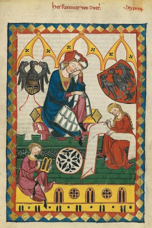 Herr Reinmar von Zweter, a 13th-century Minnesinger, was depicted with his noble arms in Codex Manes. Codex Manesse, UB Heidelberg, Cod. Pal. germ. 848, fol. 323r, 1305-1340. (Wikipedia)