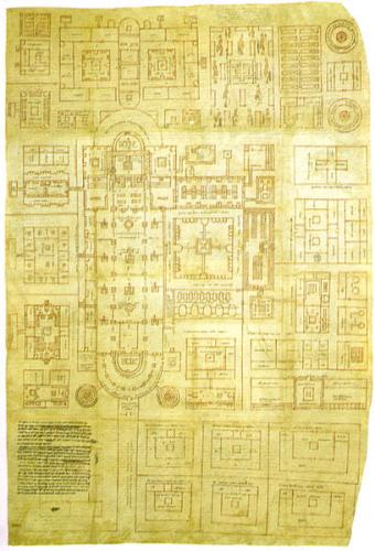 The Plan of St Gall, the only surviving major architectural drawing from the High Middle Ages