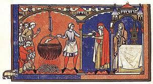 Medieval food - cook serving food