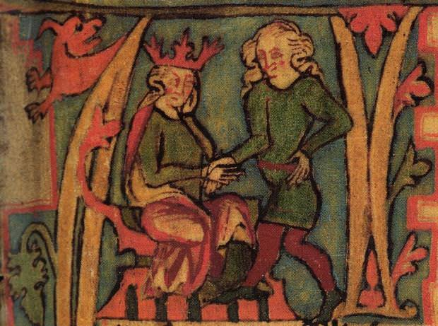 Picture of King Harald from the 14th century Icelandic manuscript Flateyjarbók.