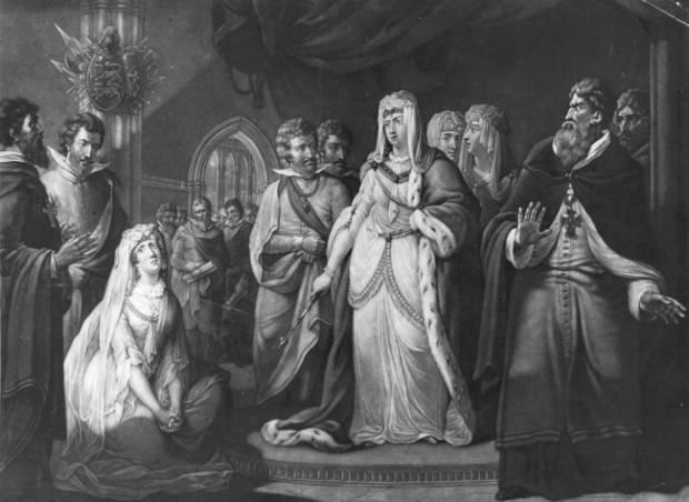The Empress Matilda hears the plea of Matilda of Boulogne, wife of Stephen of Blois who had usurped England's throne and whom the Empress' forces had captured.