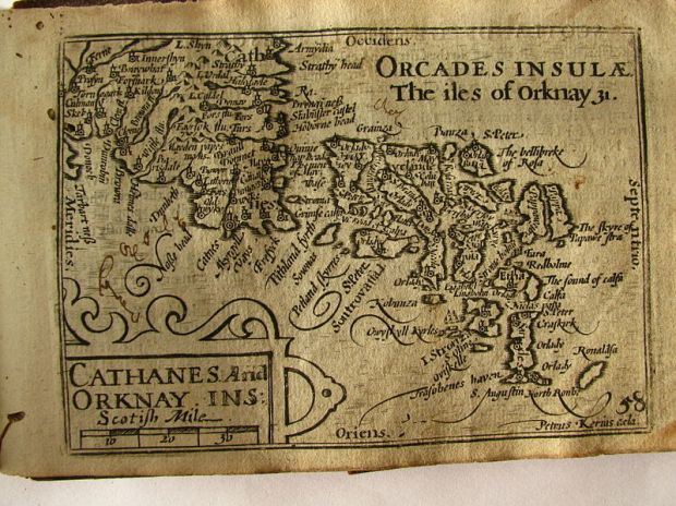 17th Century map of the Orkney Islands