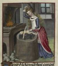 Woman hammering baby
