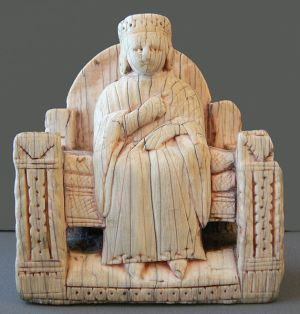 Chess Figure (from a display with chess figures from Italy, Central Europe and Northern Europa, made from ivory or walrus teeth; 12th to 16th century. Skulpturensammlung, Bode-Museum Berlin.)