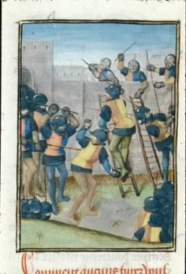 First Crusade - Royal 15 E I   f. 161v   Attack of Jaffa - British Library