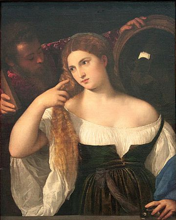 """Titian, """"Portrait of a Lady at her Toilette, 1512-16"""