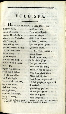 The first page of Völuspá from Edda Sæmundar hins fróda edited by Arvid August Afzelius in the year 1818.