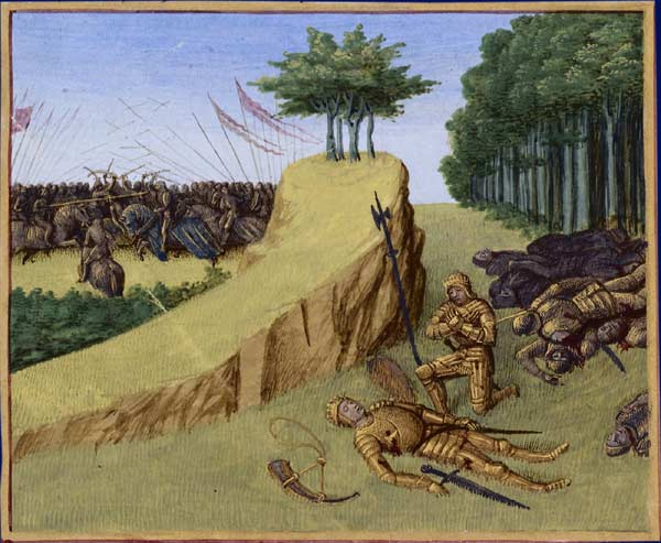 The death of Roland at the Battle of Roncevaux, from an illuminated manuscript c.1455–1460.