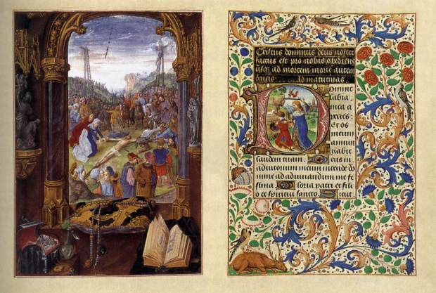 Master of Mary of Burgundy, Hours of Mary of Burgundy codex Vindobonensis 1857, fol. 43v and 44r Raising of the Cross  Vienna, Austrian National Library